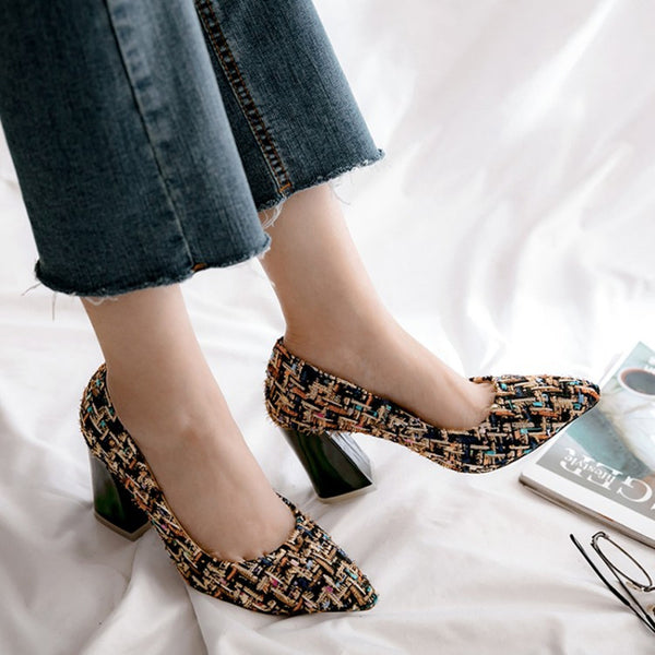 New Thick Heels Pumps Mixed Colors Tweed pointed Toe Spring Summer Casual Shoes square high heels Women Pumps