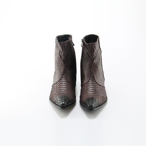 New Crocodile Grain Brown White Mens Ankle Boots Embossed Genuine Leather Dress Boots Spring/Autumn Mens Wedding Shoes
