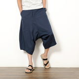 2018 cotton linen pants low crotch pants wide leg hanging crotch pants