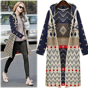 Free Shipping 2018 Autumn Winter Clothes Sweater Coat European and American Female Loose Cardigan Sweater Long Hooded