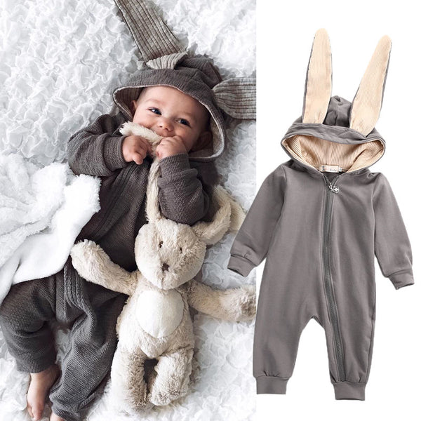 New Infant Baby Boy Girl  3D Ear Cotton Romper Jumpsuit Babies Cute Rabbit Ear Hooded Rompers Outfits Costume Zipper Clothing