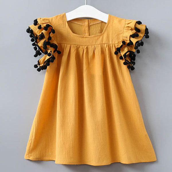 Girls Dresses 2018 New Summer Fashion Princess Flying Sleeve Plush Pompoms Decoration Girls Dresses Clothes For 2-6Y