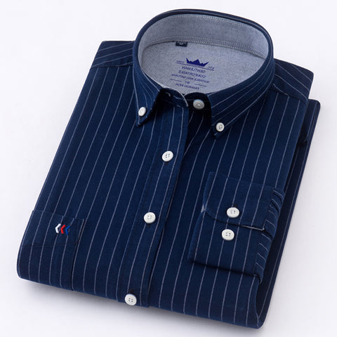 New Arrived long sleeve shirt men Cotton camisa social Oxford Men's Shirts Men's dress shirt male striped Casual Shirt 5XL
