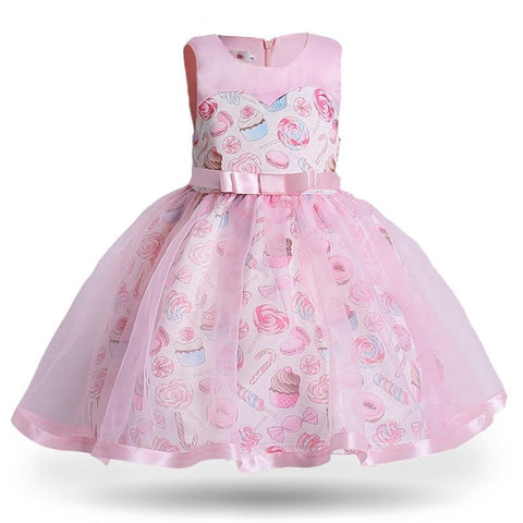 Princess Girls Dress Pink Birthday Wedding Party Baby Dresses Fancy Candy Cupcake Children Frocks for 2-10 Years Girl