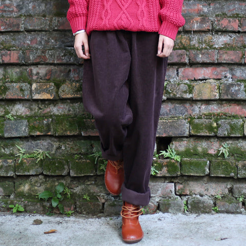 Women Corduroy Pants Vintage Autumn Winter Casual Thicken Warm Elastic Waist Loose Cotton Pleated Wide Leg pants Trousers