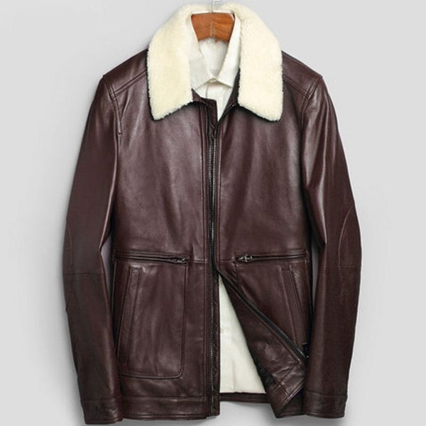 New Fashion Jacket Fur Collar Genuine Leather Jacket Men Sheepskin Coat Winter Bomber Jacket Male Turn Down Collar Zipper