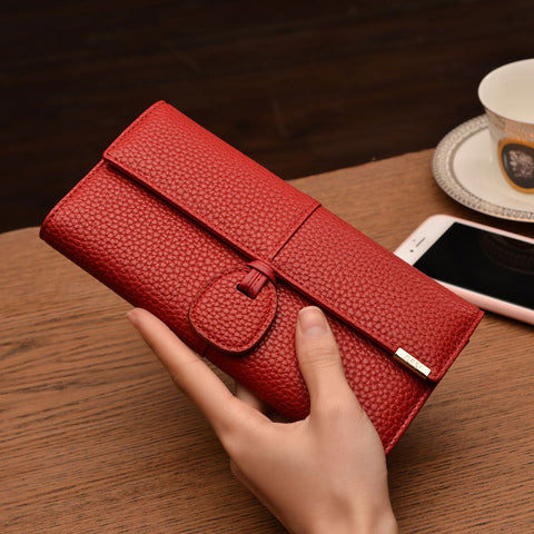 Clutch Bags Red Wallets Women Leather Phone Wallets Female Brand Design Solid Hasp Long Purse Girls Money Credit Card Holders
