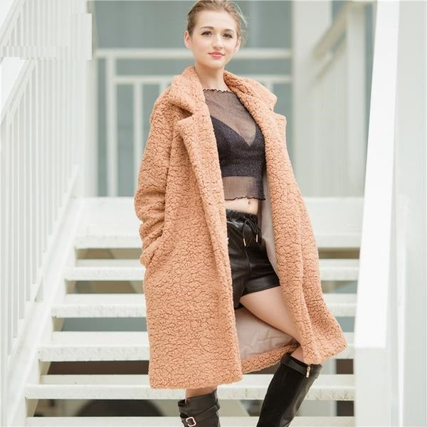 Autumn Winter Faux Leather Suede Jacket Women Casual Coat Long Sleeve ladies Coat Female fashion Outwear