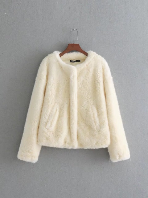 Autumn faux fur coat women casual white warm pockets jacket female loose short coat ladies outwears