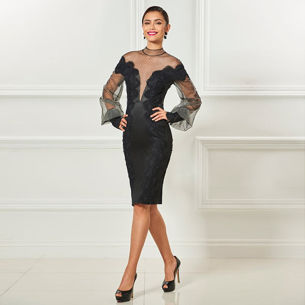 Tanpell high neck short cocktail dresses black long sleeves knee length sheath dress women party formal customed cocktail dress