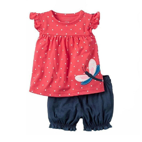 Fashion Baby Clothes Suit Dragonfly Red Newborn Clothing Sets Girl T-Shirt Jumpers Shorts Pants Summer Outfit 6 9 12 18 24 Month