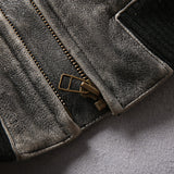 New Vintage Gray Genuine Cowskin Motorcycle leather jacket mens casual vintage cowhide leather jacket