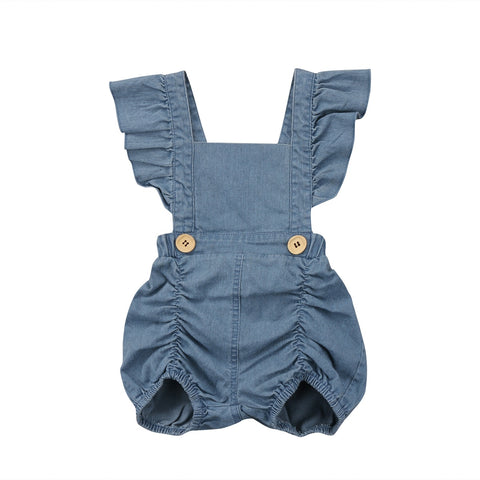 Fashion Baby girls clothes Off shoulder Newborn baby girls denim romper princess baby girls clothing