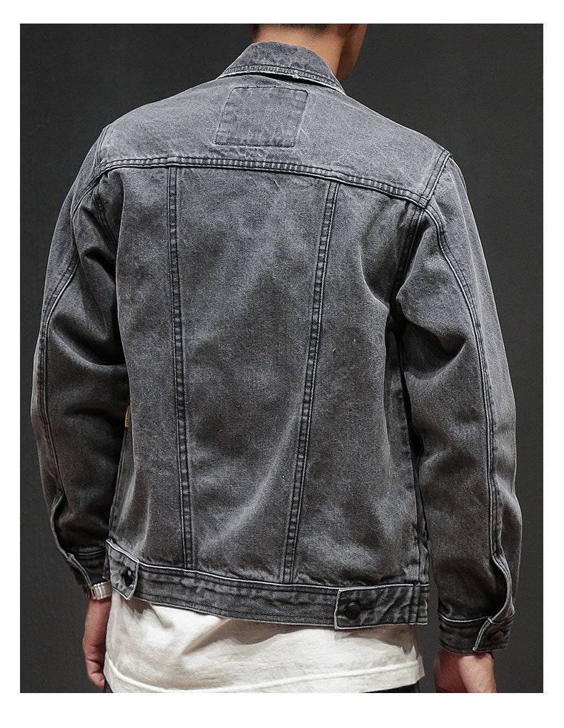 New Spring Men's Casual Hip Hop Style Loose Denim Jacket Jacket Men,  Solid Color Gray Men's Cowboy Jacket Casual M-XXL