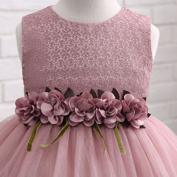 Flower Girl Dresses Pink Green Gray Short Front Long Back Pageant Dresses for Girls Glitz Holy Communion