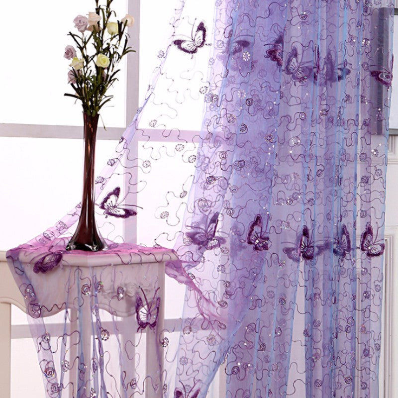 Romantic Modern Embroidered Sequins Butterfly Rustic Sheer Voile Curtains for Living Room Bedroom Kitchen Purple Curtains 344&30