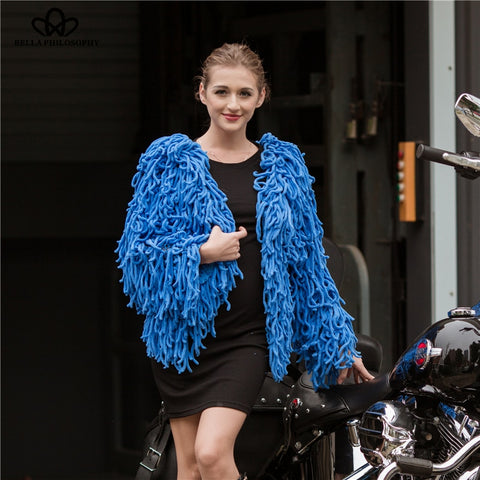 Autumn Winter Faux Fur Coat Women Casual Tassel Outwears Female Fashion Ladies Knitted Jacket For Women
