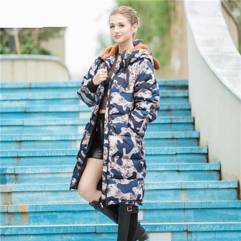 Winter padded coat women long parka jacket long sleeves outwears overcoat Hooded camouflage coat