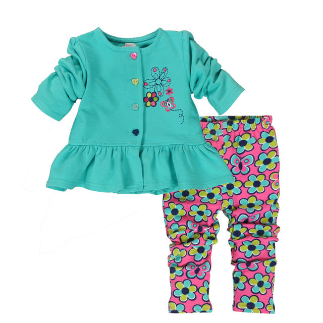 Red Green Printed Baby Girl Clothing Set Baby Clothes Infant
