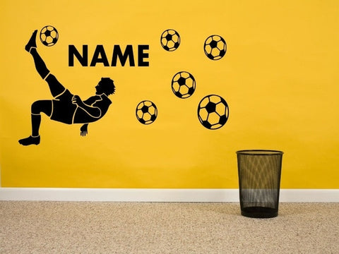 Football Player Pattern Vinyl Wall Decals Personalized Custom Children Name Art Wall Sticker Kids Bedroom Decor Wallpaper Y-619