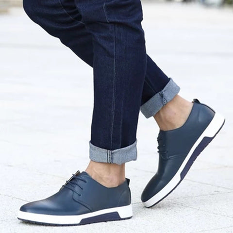 Men Shoes casual Comfortable breathable PU leather shoe laces sneakers drop Shipping PU fashion flat Shoes for men
