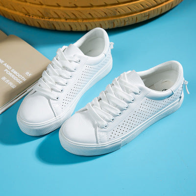 2018 New Female White Shoes Leather Breathable Canvas Shoes All-match Student Casual Shoes Summer Sneakers for Women Size 35-40