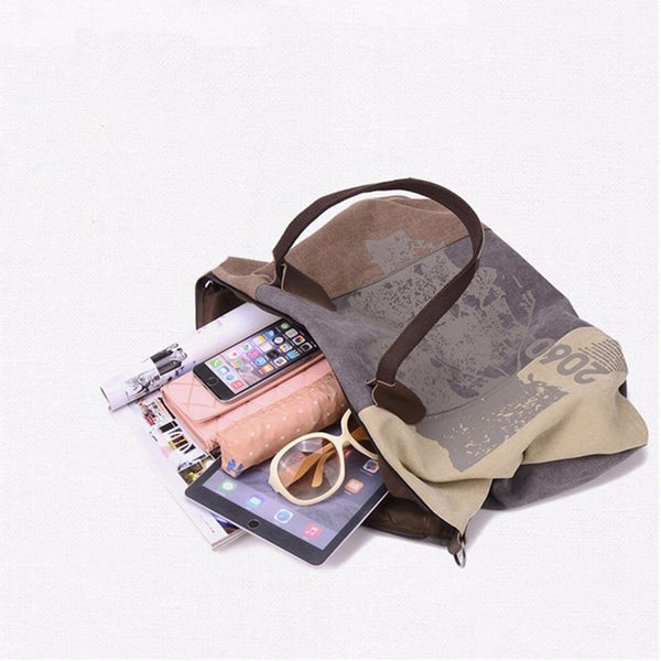 Canvas Women Bag Casual Handbag Hobo Shoulder Crossbody Bags Large Graffiti Big Trapeze Totes Female Messenger Bags 2018