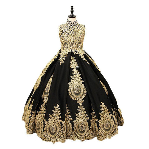 Pictures Custom Made Gold Lace Black Satin High Neck Girl Communion Dresses Pageant Ball Gowns Party Dress For Girls