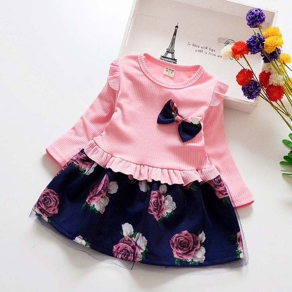 baby spring Girl Dress Christmas Party Dresses Kids Girls Floral Clothes Children Girl Dress baby girl clothing dress