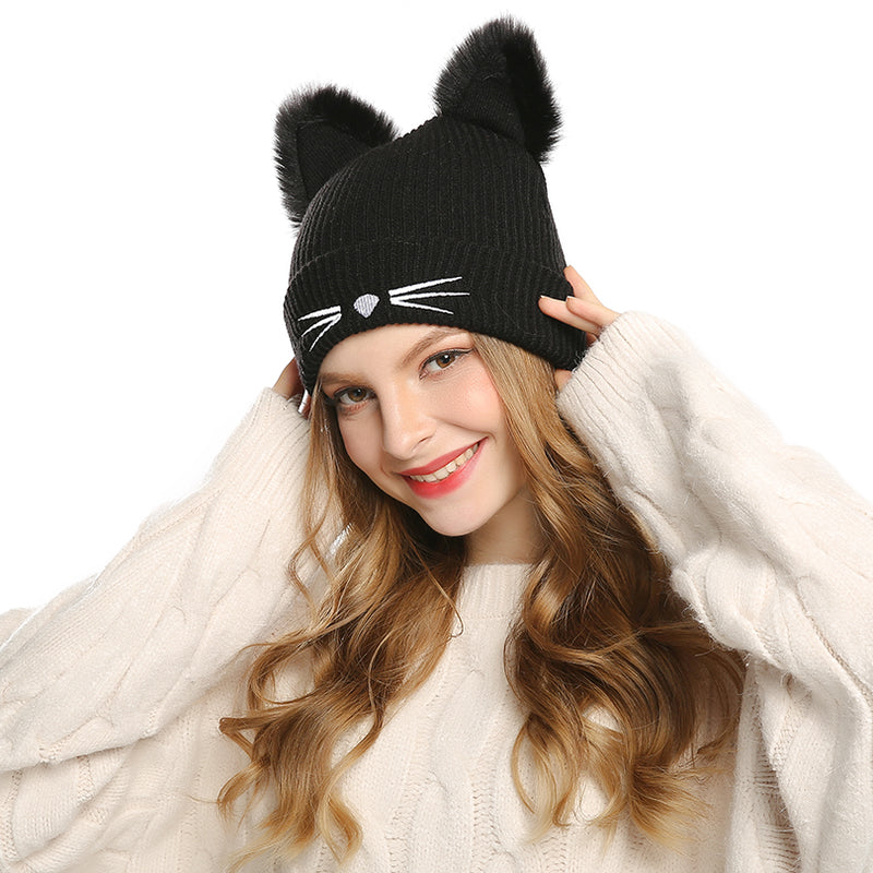AWAYTR Knitted Womens Cat Ears Faux Mink Hats Skullies Fur Pompom Caps Female Beanies 2017 New Fashion Lovely Cap Girls Headwear