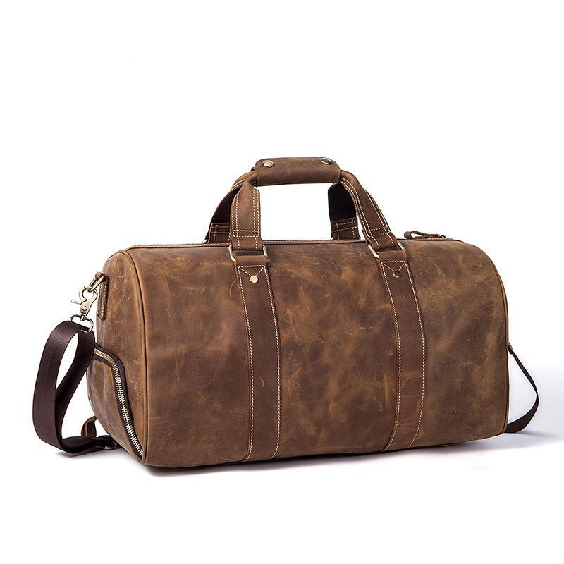 2018 New Vintage Crazy horse Genuine Leather Men Travel Bags Luggage Travel  Bag Leather Men s Duffle ... 33f448fd223d3