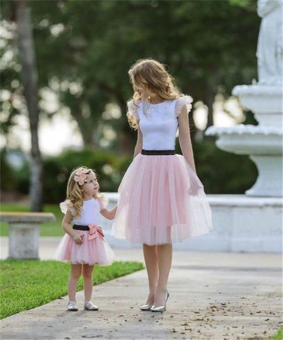 Family Matching Clothes 2Pcs Ruffle T-shirt Tulle Tutu Skirt Dress Mother Daughter Summer Hot Bow Patchwork Dress Girls Clothing