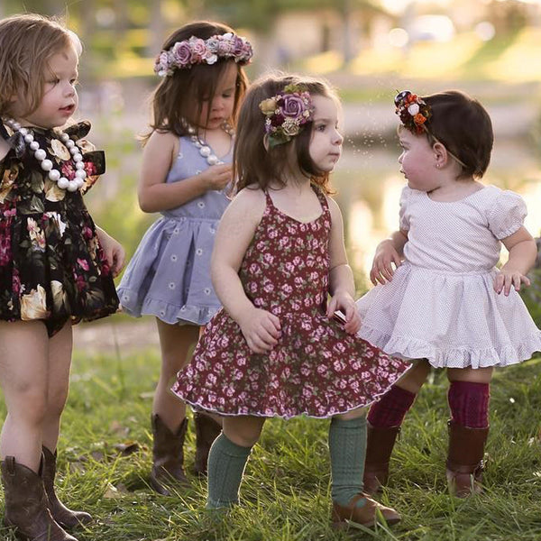floral girls dress Baby Girls Floral Straps Backless Dress Princess Outfits Clothes Dress summer children clothing