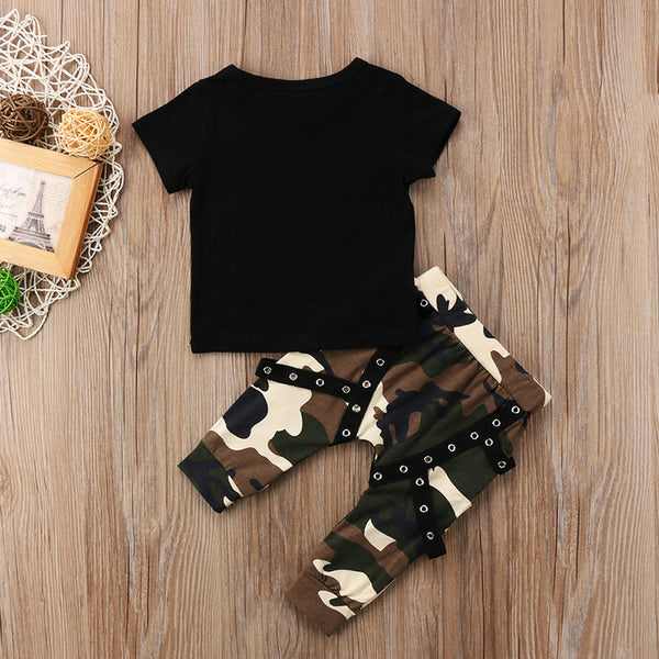 Newborn Baby Kids Boys Camouflage Suit Tops T-shirt + Camo Pants 2PCS Outfits Clothes 0-5Years