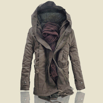 New arrival winter casual thicken cotton padded zipper closed coat men parka men men's hooded jacket sudadera hombre MF2