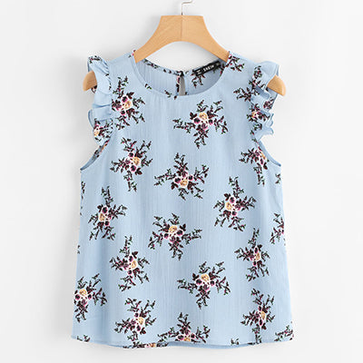 Frilled Armhole Button Closure Back Floral Top 2018 Summer Women Regular Fit Blouses Blue Chiffon Sleeveless Casual Blouse