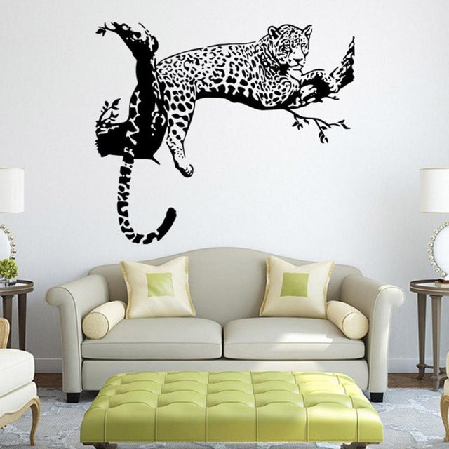 leopard wall stickers living room bedroom decoration removable