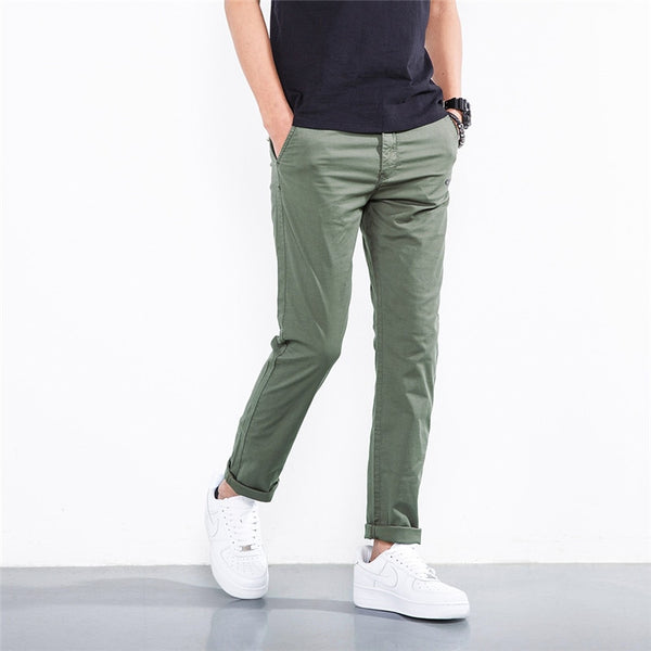 Men Long Pants New Fashion Straight Pants Brand Casual Trousers High Quality Cotton Bottoms Overalls MKX035