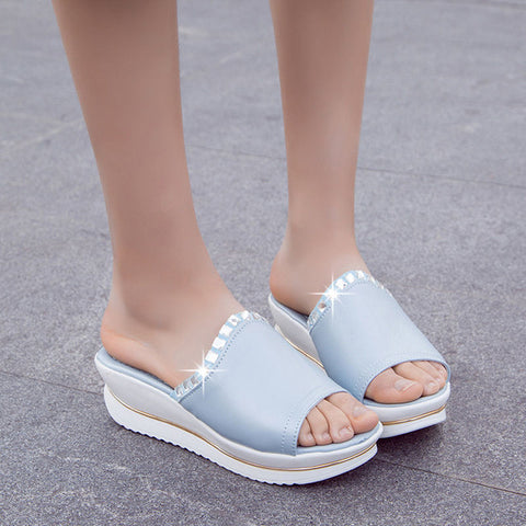 Summer Woman Shoes Platform bath slippers Wedge Beach Flip Flops High Heel Slippers For Women Brand Black Shoes A6W
