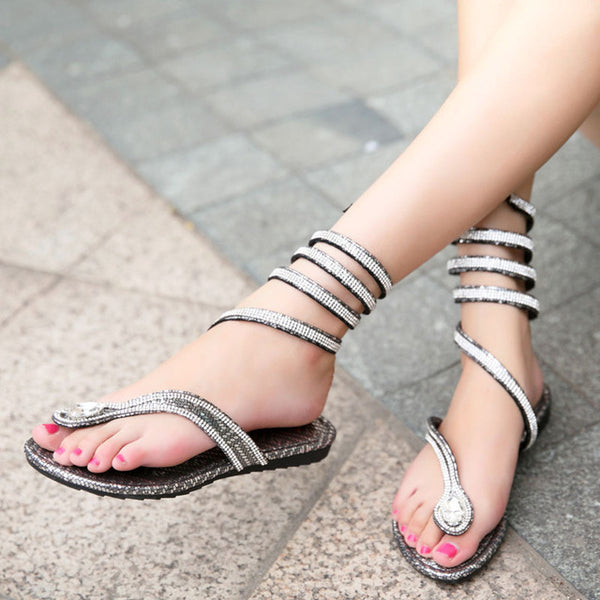 2018 Summer Cool Snake Pattern Women Slippers Rhinestone Luxury Design Diamond Flip Flops Rome Gladiator Sandals