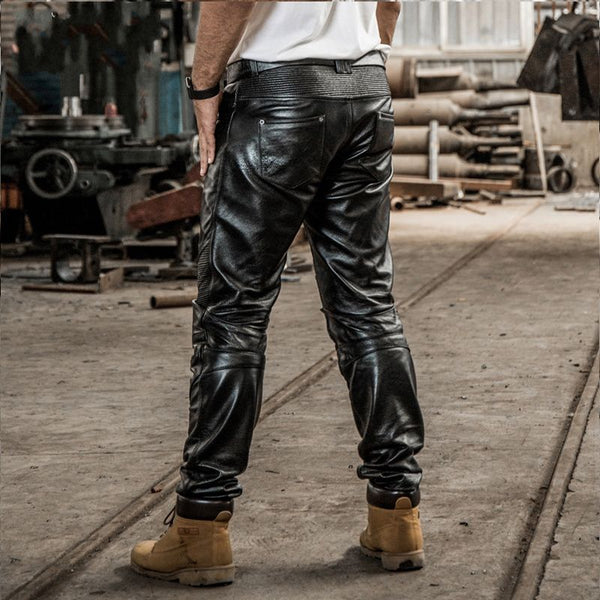 Genuine Leather Mens Mid Waist Straight Long Pants Male Trousers Motorcycle Biker Regular Brand High Quality Plus Size Black