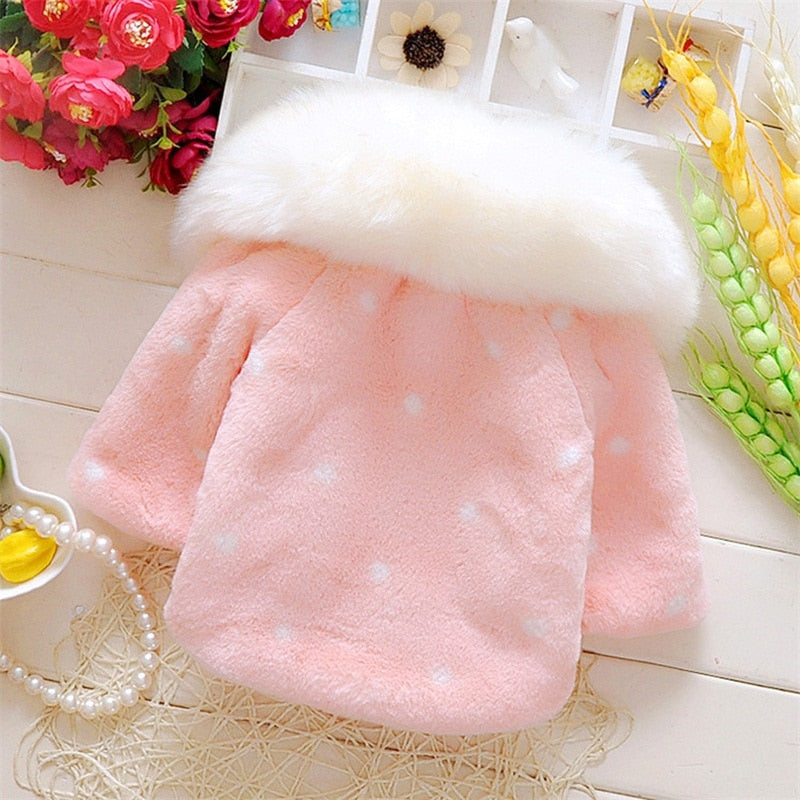 fdee65873100 Lovely Faux Fur Coats for Baby Girls Autumn Winter Black Dot ...