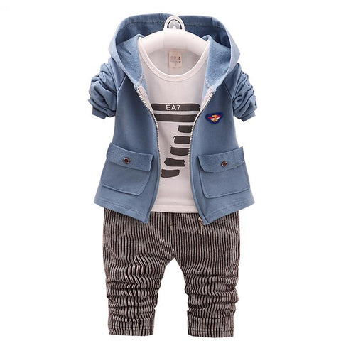 Baby Boy Sets 2018 New Spring Cotton Number Printing Longsleeve T-shirts+coats+pants 3pcs Suits for Kids Children's Clothing