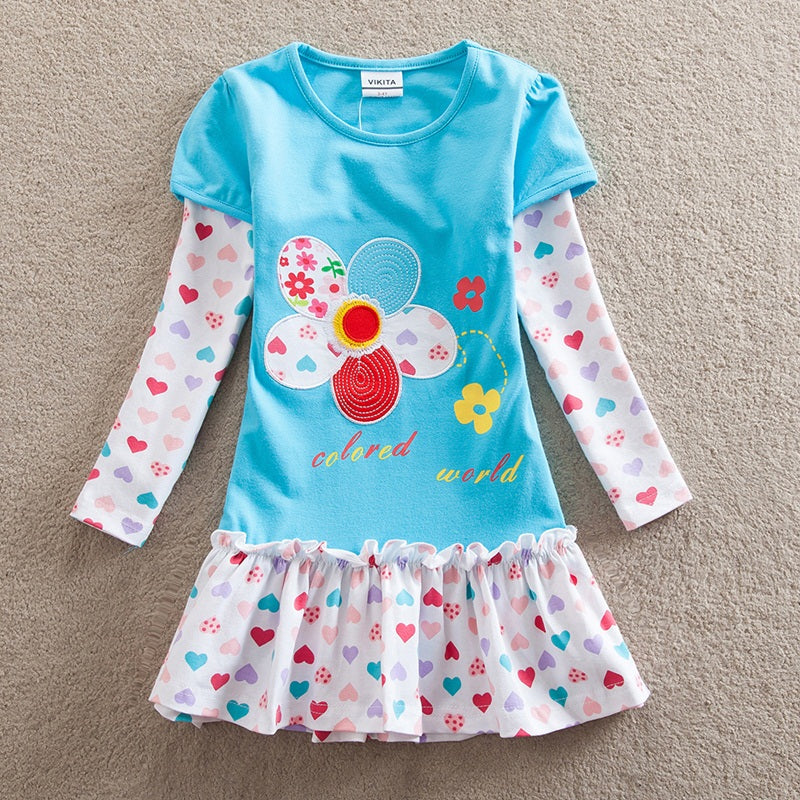 Girl Dresses Children Clothing Kids Princess Dress Girls Floral Vestidos Long Sleeve Casual Dresses for Autumn F5061