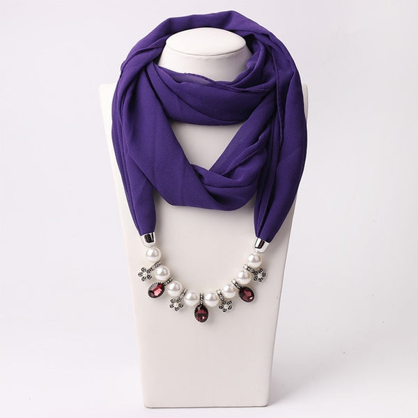New Pendant Scarf Necklace Muslim Necklaces For Women Chiffon Scarves Pendant Jewelry Wrap Pearls Female Accessories