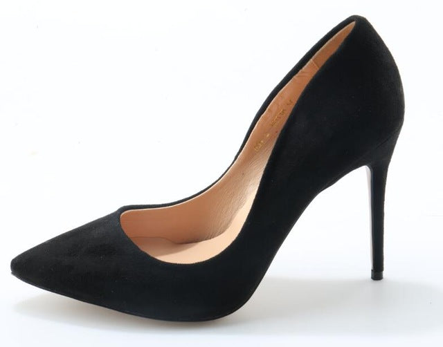 73db210be4e New Fashion Faux Black Suede Pointy Toe High Heels Slip On Ladies Sexy  Pumps High Quality Female Party Shoes Dress Heels Size 42