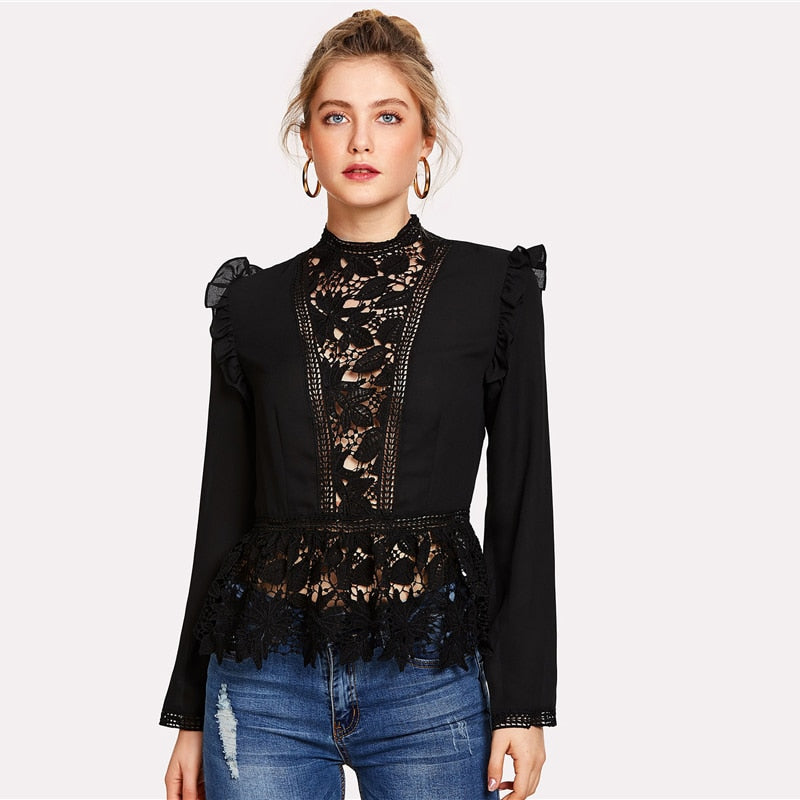 e3b29a1808273 Black Frilled Shoulder Lace Shirts Crochet Blouse Stand Collar Long ...
