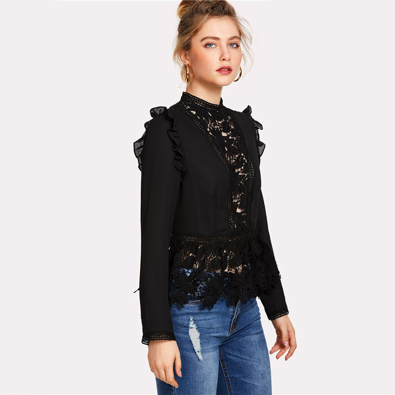 7844cb6c ... Black Frilled Shoulder Lace Shirts Crochet Blouse Stand Collar Long  Sleeve Top Women Sexy Chiffon Blouse ...