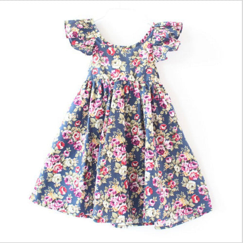New latest vintage floral girls dress baby girls summer style stripe dress 1-6year