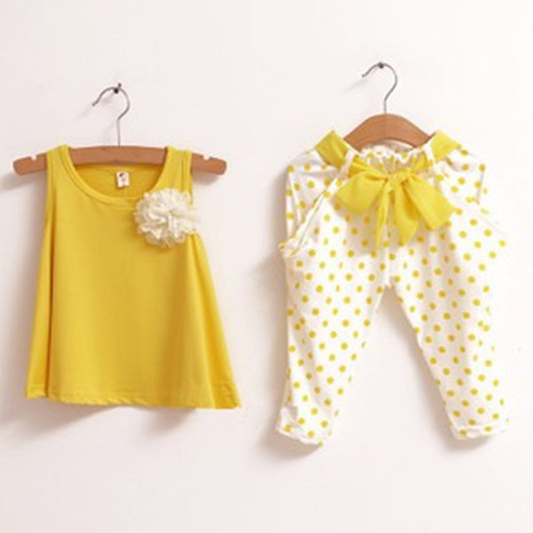 Retail 2-7Y Kids Summer Sets Yellow/Green/Red 100% Cotton Polka Dot Girls' Summer Suits Sleeveless T-shirt + Pants